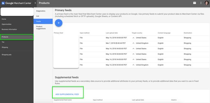 sumplemental-Feeds Google-Merchant-Center
