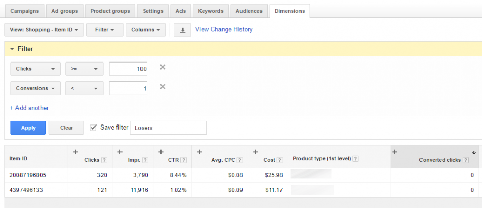 AdWords Dimension Tab Loser Filter Results